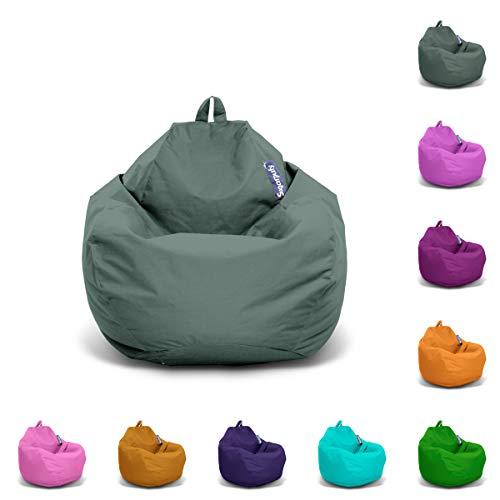 Sugarpufy Premium Sitzsack für Erwachsene XXL Sitzkissen Big Gaming Chair Weiche Sitzsäcke Indoor & Outdoor Bean Bag Hocker Rückenkissen mit Füllung (Grauschwarz, Indoor & Outdoor)