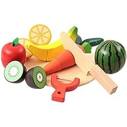 OFKPO DIY Küche Lebensmittel Spiel,Früchten/Gemüse Schneideobst aus Holz Kinder Spielzeug