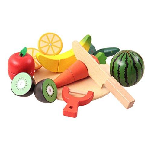 OFKPO DIY Küche Lebensmittel Spiel,Früchten/Gemüse Schneideobst aus Holz Kinder Spielzeug -