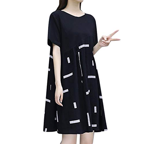 Perlen Knielangen Rock (LILIHOT Mode Frauen knielangen Kurzarm Spleißen runden Kragen Kleid Damen Sommerkleider Kurzarm V-Ausschnitt Lange Kleider Sommer Elegantes Strandkleid Lange Kleider Ärmellos Partykleid)
