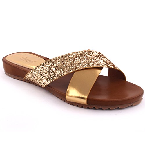 Unze Nuove donne 'Bruno' brillata metalli Open Toe Slider sandali estate Beach Party Get Together Carnevale scolastico pattini piani casuali dei pistoni UK Size 3-8 Oro