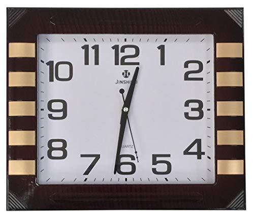 Rectangle Grand 40cm X 35cm Horloge Murale Effet Acajou Cadre en Bois & Finition Doré