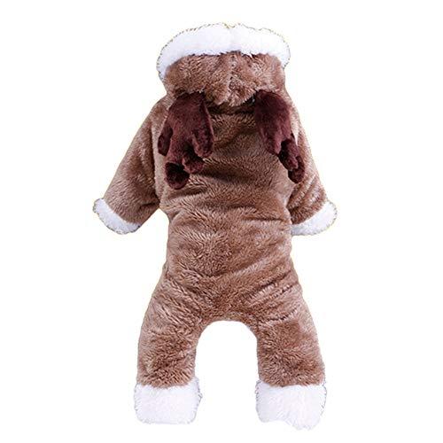 ChanYYw Hundekostüm Herbst Winter Welpen Elch Muster Hoodie Kostüm Weiche Bekleidung Mantel Haustier Hund Kleidung *Wapiti XL (Lose Elch Kostüm)