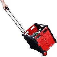 Blueidea® Carrello Portaspesa Trolley Pieghevole per la Spesa con Coperchio & 2 Ruote (Rosso)