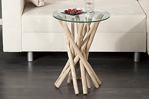 DuNord Design Beistelltisch Couchtisch ALGARVE Treibholz Schwemmholz Massivholz Glastisch rund