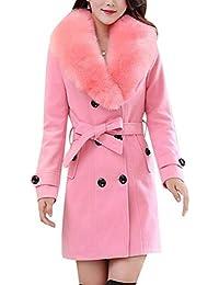 33711d971c2c50 BoBo-88 Donna Giacca Vento Invernali con Collo di Pelliccia Cappotti Colori  Solidi Tasche Laterali