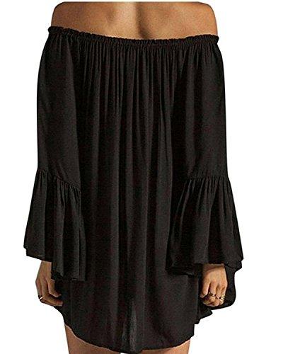 Minetom Femme Sexy Élégant Longue Tunique Épaule Nue Mousseline Lotus Manches Robe de Plage Plier Dress Cocktail Noir