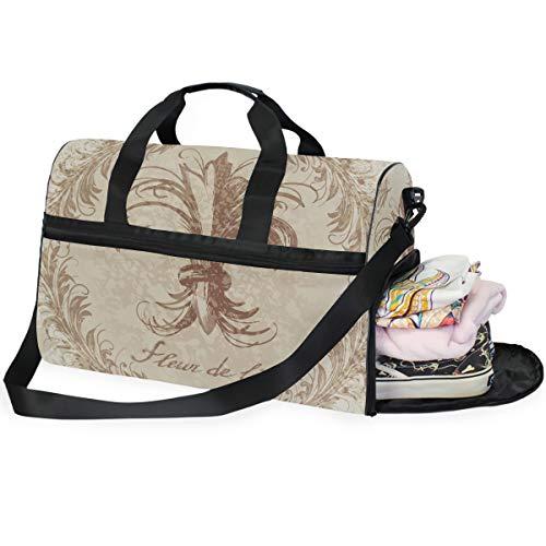 Dallonan Herren Reisetasche für unterwegs, Retro-Stil, Fleur de Lis Duffel Bag Gym Schuhfach Sport Tote Bag (Fleur Di Lis Gepäck)