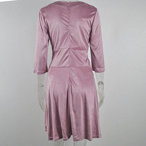 Weiblich Mode Reizvolle V-Ausschnitt Hohe Taille Einfarbig Faltenrock Blusenkleider Rosa