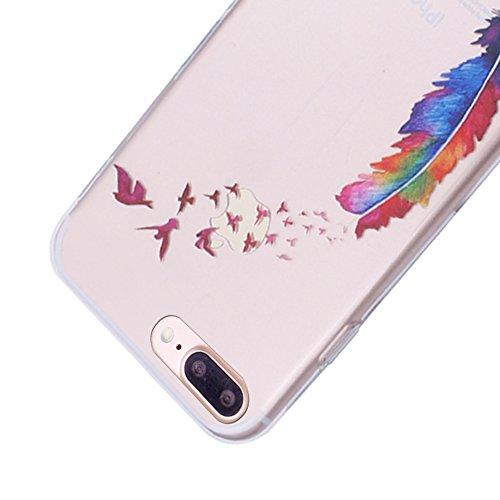 iProtect TPU Schutzhülle Apple iPhone 7 Plus, iPhone 8 Plus Softcase Hülle 'Everyday' Motto Schwarz fliegende Feder