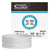 NANOCABLE 10.20.0904 - Cable de red Ethernet rigido RJ45 Cat.6 FTP AWG24, rigido, Gris, bobina de 305mts