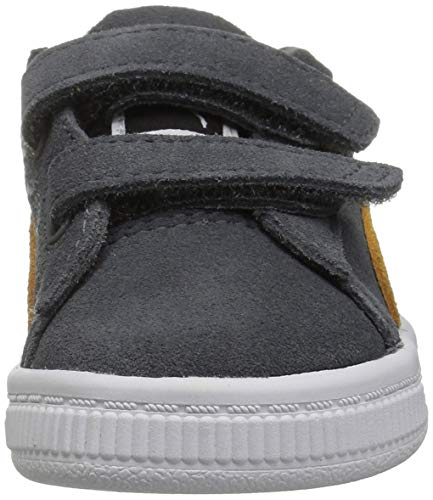 PUMA Baby Suede Classic Velcro Sneaker  Iron gate-Buckthorn Brown Team Gold  10 M US Toddler
