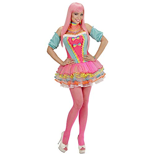Kostüm Girl Rainbow - Widmann 49481 - Erwachsenenkostüm Rainbow Fantasy Girl, Korsett, Tütü, Oberarmstulpen und Halsband
