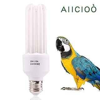 AIICIOO 20W UVB Lampe für Vögel, 2,4% UVB Ausgang, Vollspektrum, Kompaktlampe für Ziervögel, natürliche Farben, E27