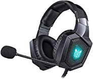 Gaming Headset Wired Over-Ear Headphone with Microphone, Compatible with PlayStation 4 Xbox One(Adapter Need)