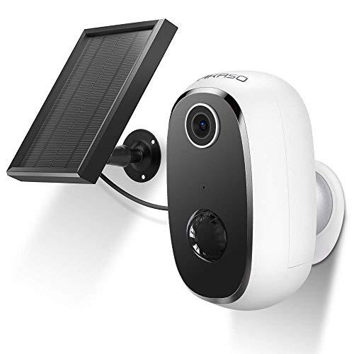 AKASO Outdoor Kamera, Wireless 1080P Überwachungskamera mit Solarpanel IP65 wasserdicht 2 Wege Audio Nachtsicht-Funktion, kompatibel mit Alexa/Google Home
