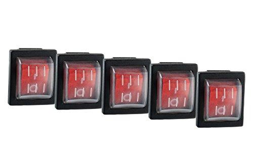 5x Wippschalter eckig rot beleuchtet 2-polig 250V 16A 30x22mm und 5x Schutzkappe