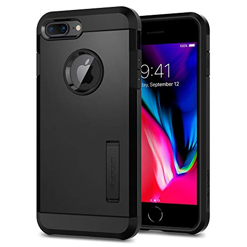 Spigen 055CS22246 Tough Armor Kompatibel mit iPhone 8 Plus / 7 Plus Hülle, Doppelte Schutzschicht für Extrem Fallschutz Schutzhülle Case Schwarz