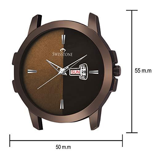 Swisstone BRW385-BRWN Brown Leather Strap Wrist Watch for Men