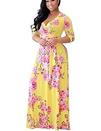 Landove Robe Longue Femme Boheme Manche 3 4 Été Tunique Col V Fleurie  Vintage Chic 1860f45d872b