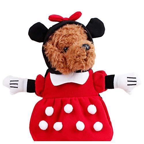 Minnie Kostüm Hunde - GLZKA Haustier Kostüm lustige Kleidung Minnie Upright Dress up Polyester Halloween bequem lässig für den täglichen Partyurlaub Fotoshootings,XL