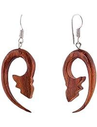 cc5aa6f22257 Aretes tibetanos de madera antigua tallada tribal africano de gran calibre  falso de 2