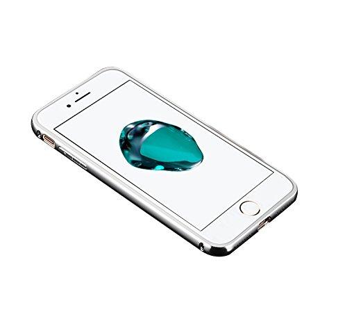 Minto Luxus Aluminium Metall Spiegelhülle Schutzhülle iPhone 8 Plus / iPhone 7 Plus Spiegel PC Rückseite Case Cover Hülle + Metall Bumper Rahmen Silber Silber -i8+