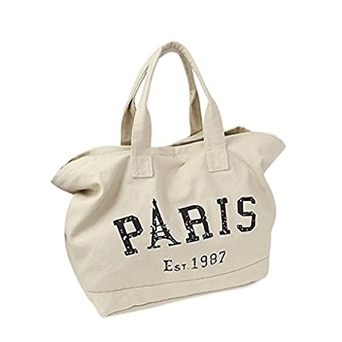 Liying Lady Teenage Girl PARIS Letter Canvas Casual Hobo Tote