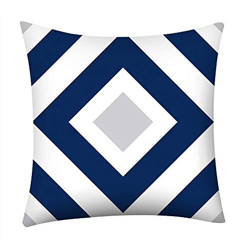 Sallydream- Funda Cojín 45x45 Azul Sofa Lino Estampada Simple Geometría Square Funda de Almohada Decoración...