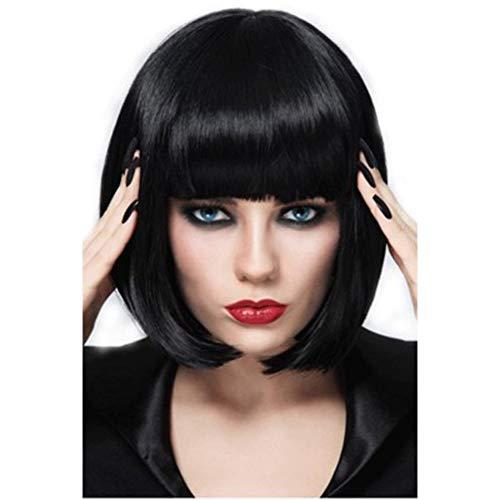 Scopri offerta per Parrucca sexy con caschetto corto, colore nero naturale, per donne e signore, capelli lisci, resistente al calore, con fasce per cosplay, feste all'aperto o come regalo (25,4 cm)