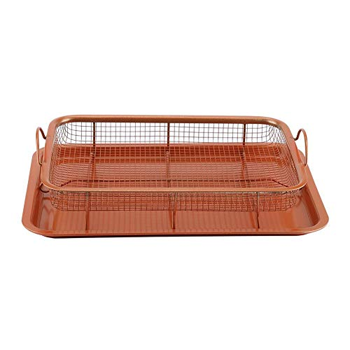 GOTOTOP Metal Non-Stick Baking Tray and Grill Basket for Baking Filtering Storing Food, 2-Piece Set Metal Tray