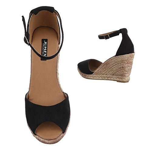Keilsandaletten Damenschuhe Plateau Keilabsatz/ Wedge Keilabsatz Schnalle Ital-Design Sandalen / Sandaletten Schwarz