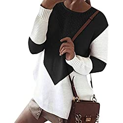 ZKOO Suéter Jerseys De Punto Mujeres Puntadas Manga Larga Cuello Redondo Punto Jerséy Pullover Tops Suelta Otoño e Invierno Negro