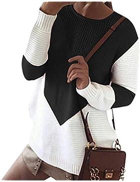 ZKOO Suéter Jerseys De Punto Mujeres Puntadas Manga Larga Cuello Redondo Punto Jerséy Pullover Tops Suelta Otoño...