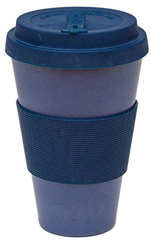 Airee Fairee Coffee to Go Becher Bambus Wiederverwendbare Kaffee- Reisebecher aus ökologischem Bambusfasern und natürlichem Silizium 450ml