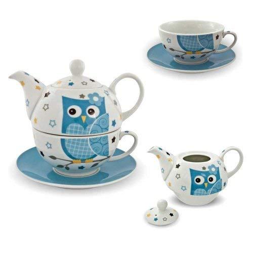 Porzellan Tee Set Tea for one Teeservice Eule blau weiß Teekanne Tasse Untersetzer