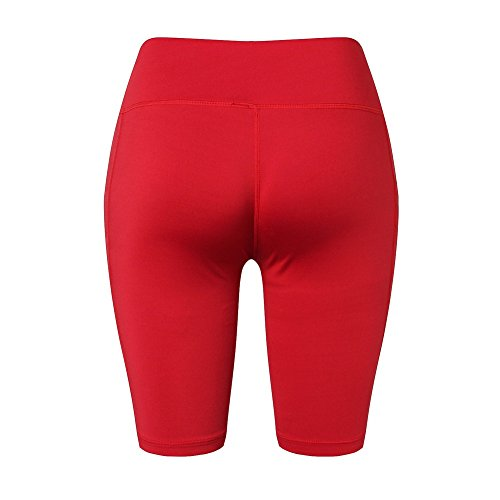Yalatan Women Comfort Pockets Pants Quick-drying Elastic Casual Plus Size Mind-waist Lady Knee Length Pant Rosso