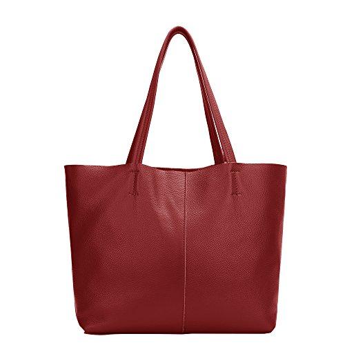 Damero Damen Echtledertasche Handtasche Schultertasche Arbeitstasche Glattleder mit trennbarem Futter Weinrot