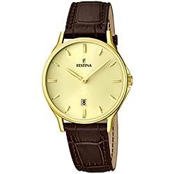 University Sports Press F16747/2 - Reloj de cuarzo para hombre, con correa de cuero, color marrón
