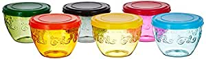Amazon Brand - Solimo Amazon Brand Wonder Bowl with Snapfit Lid, 220 ml, Set of 6, Multicolour