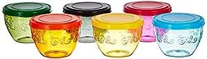 Amazon Brand - Solimo Amazon Brand Wonder Bowl with Snapfit Lid, 220 ml, Set of 6, Multicolour