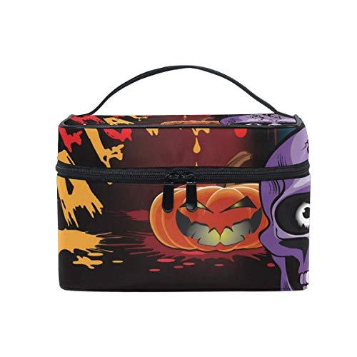 Tragbare hängende Make-up Kosmetiktasche Tasche,Travel Cosmetic Bag Halloween Skull Pumpkin Toiletry Makeup Bag Pouch Tote Case Organizer Storage for Women Girls