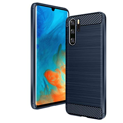 AIFIVE Huawei P30 Pro Hülle, Flexiblem TPU Silikon Hybrid Schutzhülle Kohlenstoff-Fasern Tasche Slim-Fit Case für Huawei P30 Pro (Blau)