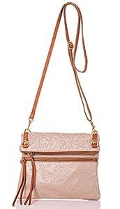 italienische Damen Umhängetasche Barcelona aus echtem Leder in puder und cognac braun, Made in Italy, Handtasche 22x24cm