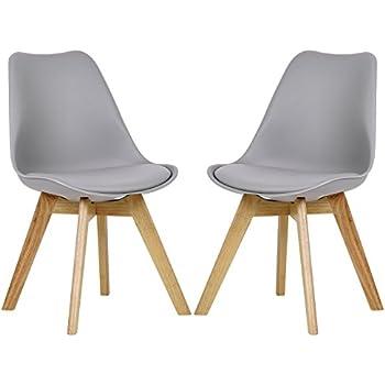 2x Esszimmerstühle 2er Set Esszimmerstuhl Design Stuhl Küchenstuhl Holz,  Neu Design, Grau, BH29gr