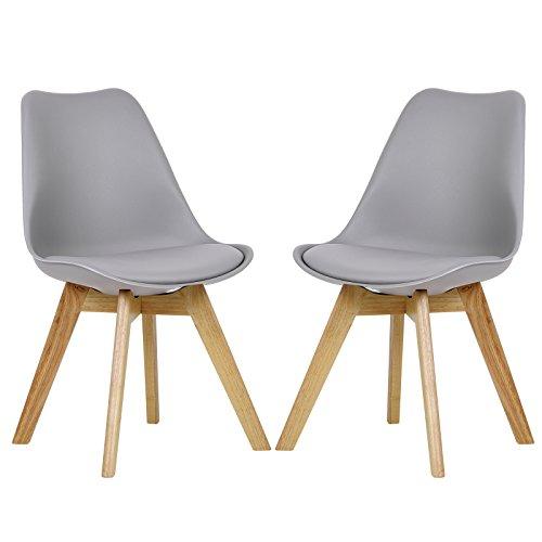 EUGAD 2x Esszimmerstühle 2er Set Esszimmerstuhl Design Stuhl Küchenstuhl Holz, Neu Design, Grau, BH29gr-2-a