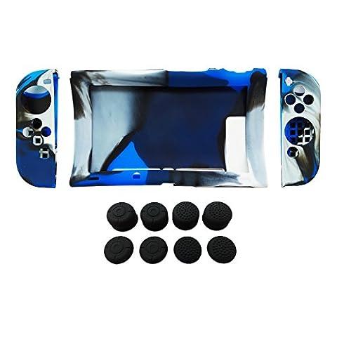 Hikfly Silicone Gel Poignée Antidérapant Couverture peau Protecteur Coques Kits pour Nintendo Switch Consoles et Joy-Con Contrôleurs avec 8pcs Gel de Silicone Poignées de pouce Capsules (Bleu Camouflage)