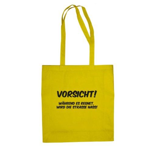 Vorsicht Regen - Stofftasche / Beutel Gelb
