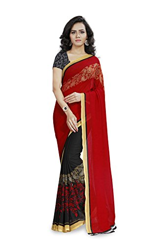 Kashvi Sarees Women's Faux Georgette Saree With Blouse Piece (1190_3_Red)