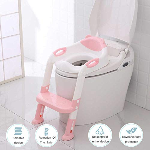 FLHLXQ Kindertoilette, Tritthocker Verstellbare Kindertoilettenschüssel Toilette Junge Mädchen Kindtoilette Trainingssitz,Pink